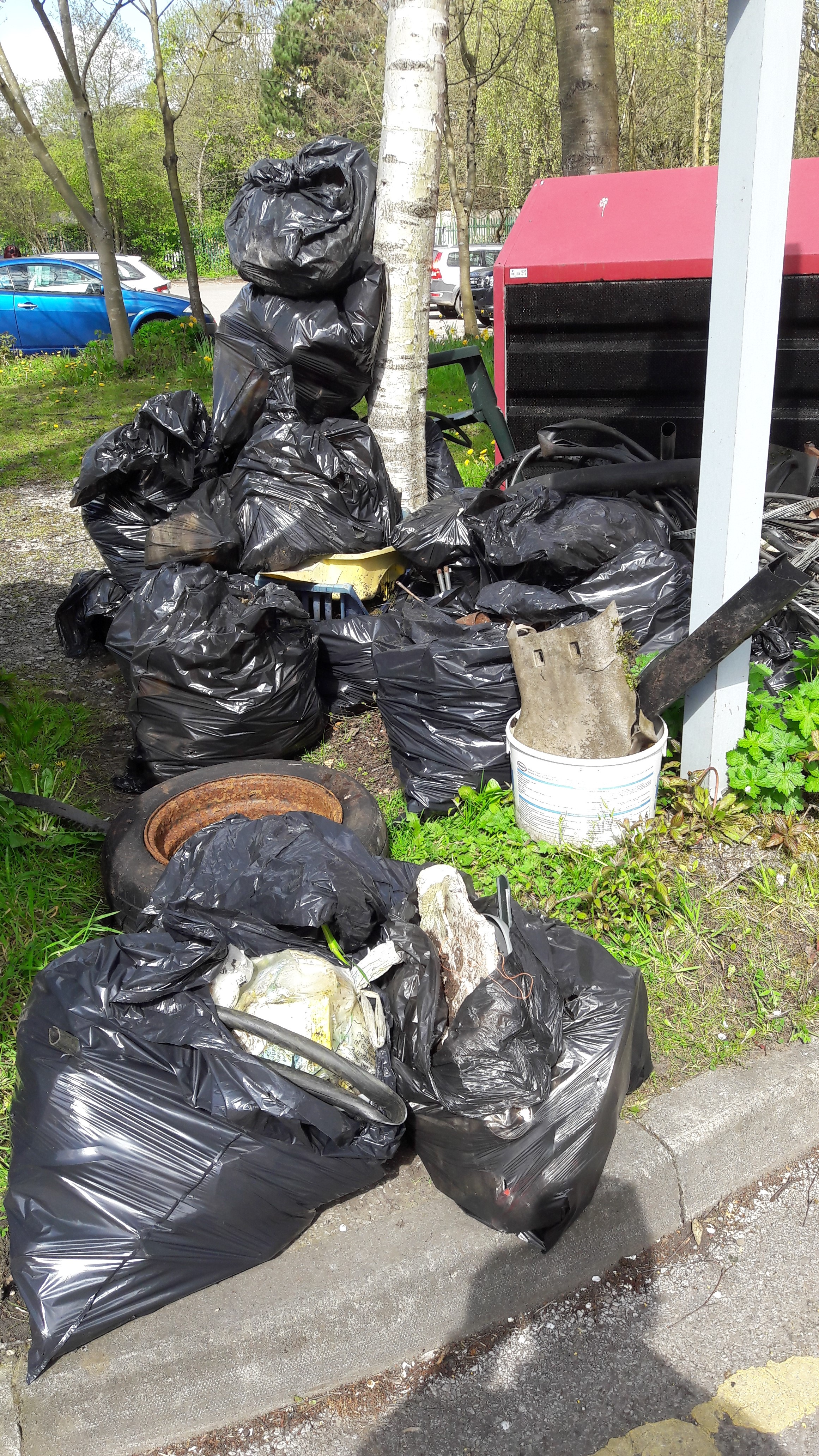 The bags of rubbish collected